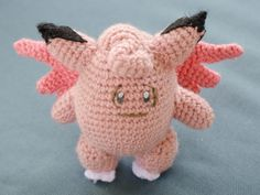 This big pink fairy likes to take long moonlit strolls near mountains on its own. Clefable may be shy, but it loves to make friends with Trainers!  An adorable semi-realistic doll for you to love and carry around! Every detail has been carefully crafted and stitched to recreate the Pokemons original design!  Pokedex Entry: A timid fairy Pokémon that is rarely seen. It will run and hide the moment it senses people.--Pokemon Red and Blue Version  Height: 6  Materials: acrylic yarn, felt…