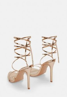 64829be7812 Missguided Rose Gold Pointed Toe Barely There Heels