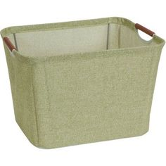 Household Essentials Medium Tapered Soft-Side Storage Bin with Wood Handles, Green