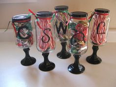 Monogram candy jars. great  inexpensive idea for gifts! save your pickle jars  spaghetti jars. Use a candle stick glued to the bottom as a stand, spray paint lids  candlestick to match, you can either buy adhesive monogram letters at your local craft store or just hand paint it! Add a little ribbon at the top for detail! :) don't forget to fill with candy