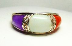 Amazing Jade Ring Rare Sterling Silver Purple White and Red Jade Sz10