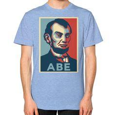 """ABE LINCOLN ""HOPE"" DESIGN"" UNISEX T-SHIRT (Color : Tri-Blend Blue) - By Gordons Wear"