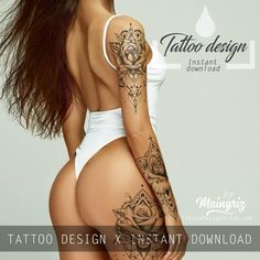 In this table we present the work of the best tattoo artists around the world. We have not made this tattoo. For bring you inspiration and tattoo ideas, on our website you will find a digital sexy tattoo ebook. Tattoos Skull, Feather Tattoos, Rose Tattoos, Sexy Tattoos, Body Art Tattoos, Hand Tattoos, Sleeve Tattoos, Girl Tattoos, Lace Tattoo Design