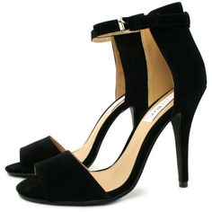 finest selection d51c3 70d8e MARLIE Stiletto Heel Peep Toe Sandal Shoes - Black Suede Style
