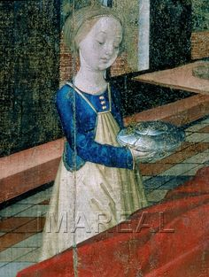 Detail from The Birth of Mary, c. 1490-1495 - Note the particular style of apron which appears primarily on midwives in 15th century from Germany and Austria; the aprons' strings come up to the woman's shoulders, and it seems to cover both the front and back.