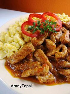 AranyTepsi: Borsos tokány Hungarian Cuisine, Hungarian Recipes, Hungarian Food, Pork Dishes, Food 52, Entrees, Bacon, Paleo, Good Food