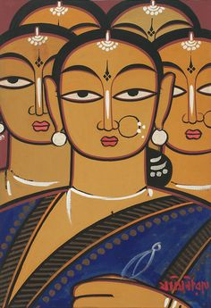 Sync — Jamini Roy, Untitled (Five Women) Art Painting Gallery, Mural Painting, Mural Art, Poster Color Painting, Watercolour Paintings, Silk Painting, Madhubani Art, Madhubani Painting, Indian Folk Art