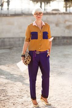 I love everything about this look. I'm not much of a purple girl but see how it can change my mind when mixed with mustard yellow.