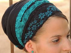 Turqoise Flowers tichelHair Snood Head by SaraAttaliDesign on Etsy