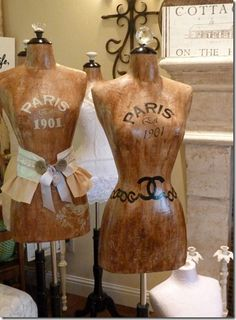 <3 Vintage French mannequin dress forms