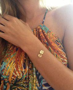 Bettelarmbänder - Initial Armband, Disc Armkette, personalisiert - ein Designerstück von MinimalVS bei DaWanda