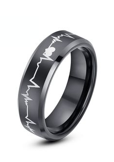 Here is a precision crafted ring from our line of comfort fit black tungsten wedding bands with hearts and heartbeat (electrocardiogram) engraved around the entire ring. This beautiful style is available in 4mm, 6mm and 8mm, that can be worn as a Wedding Band or Promise Ring by men or women. This heartbeat ring is perfect to represent your love and commitment!