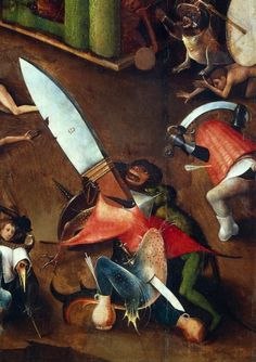The Last Judgement (Altarpiece): Detail of the Dagger - Hieronymus Bosch (El Bosco) Most Famous Paintings, Great Paintings, Creepy Paintings, Hieronymus Bosch, Renaissance Paintings, Renaissance Art, Italian Paintings, Dutch Painters, Historical Art
