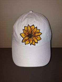 646148a735b Baseball Cap with Hand Painted Sunflower
