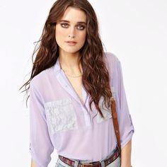 Lace pocket blouse from Nasty Gal