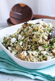 Use up that excess zucchini crop in this really simple Quinoa, Feta and Grilled Zucchini Salad. The grilled zucchini adds a delicious smoky element to the salad, and leftovers are great for the lunchbox.
