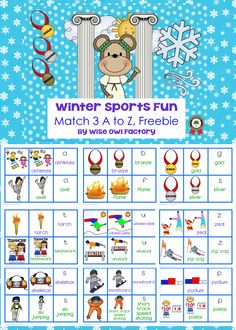 FREE 35 page page PDF winter sports words children will be hearing during the Winter Olympics are included, options for flexible use are included in the directions 3 part matching, A to Z