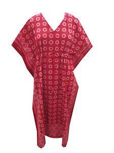 Abhaya Caftan Kimono Sleeves Cotton Dress RED Casual Kaftan | eBay
