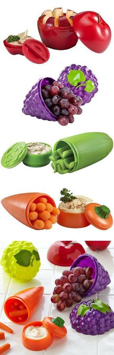 I think I may have to have these!!   Fruit  vegetable dip to-go containers // have a healthy snack on the go! Choose celery + dip, carrot + dip, grape or apple for a healthy snack on the run! #product_design #kitchen