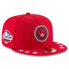 1f34b824c35 Men s Milwaukee Brewers New Era Red 2018 MLB All-Star Workout On-Field  59FIFTY Fitted Hat
