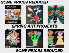 """""""SPRING THINGS"""" CUT PAPER CRAFTIVITY - https://www.teacherspayteachers.com/Product/Spring-Things-Cut-Paper-Craftivity-and-Writing-prompt-1155038 Several different spring """"easy-art"""" lesson plans for the classroom or home school....  some have reduced prices! This link will take you to one of the many projects found on Art Action-Laurie Carpenter"""