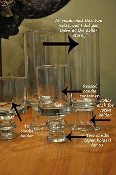 Dollar Store glasses and candle holders put together to make decorative displays for center piece or parties.