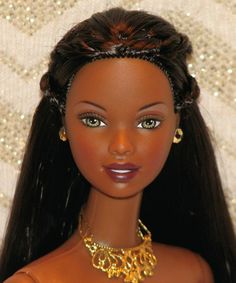GENUINE BARBIE DOLL-MINT NUDE-GORGEOUS BLACK BEAUTY WITH DAZZLING LONG HAIR!!