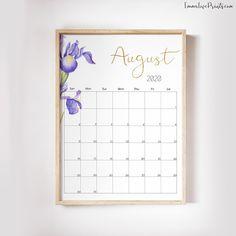 Large Wall Calendar 2020 Desk Calendar Printable Floral Calendar, Month at a glance