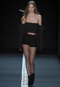 Vera Wang #off shoulder #bandeau #shorts #all black