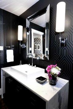 baño blanco y negro                                                                                                                                                      Más