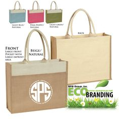 100% Natural Jute Tote Bags with Large Front Pocket #jute #totes #eco #EcoFriendly #jutetotes #branding #logo #advertising #marketing