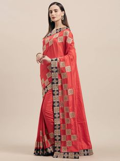 Buy unique collection of designer saree online in india, usa, uk, canada. Buy this innovative poly silk classic designer saree for ceremonial and party. Red Saree, Stylish Sarees, Designer Sarees Online, Art Silk Sarees, Traditional Sarees, Fancy Sarees, Half Saree, Saree Styles, Embroidered Silk