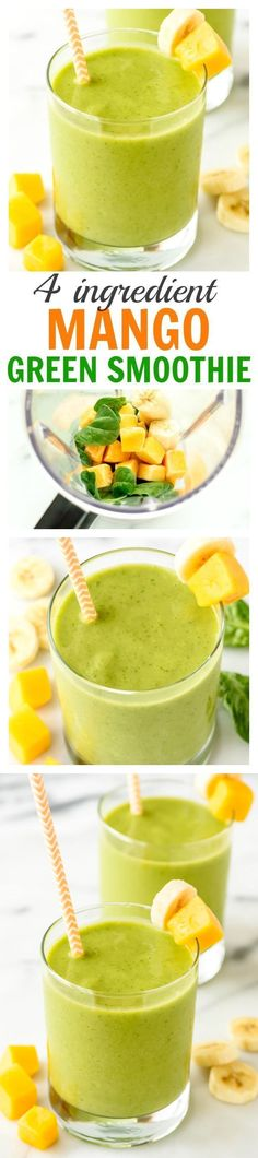 1 cup Baby spinach, packed leaves. 1 Banana, Ripe. 1 1/2 cups Mango pieces, frozen. 3/4 cup Almond breeze unsweetened vanilla almondmilk cashewmilk blend.