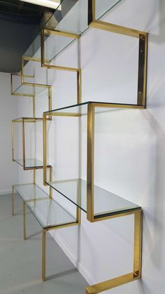 View this item and discover similar shelves for sale at - Architectural brass etagere shelving unit after Milo Baughman Wall mount system that can be adjusted to various widths to suite your space Newly Interior Design Books, Furniture Design, Interior Decorating, Furniture Market, Furniture Layout, Decorating Ideas, Glass Shelves In Bathroom, Jewelry Store Design, Shelves For Sale