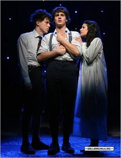 Jonathan Groff, Lea Michele, John Gallagher Jr in Spring Awakening Broadway Theatre, Musical Theatre, Broadway Shows, Lea Michele, The Rocky Horror Picture Show, Theatre Nerds, The Great White, Teen Vogue, Les Miserables