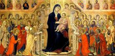 In this late medieval painting from 1308 in the Cathedral of Siena in Italy, the artist (Duccio di Buoninsegna) depicts Mary and the baby Je. Renaissance Music, Medieval Music, Medieval Art, Ancient Music, Medieval Times, Duccio Di Buoninsegna, Art History Timeline, Art Periods, Italian Paintings