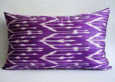 Sukan / Hand Woven Original Silk ikat Lumbar Pillow Cover by sukan