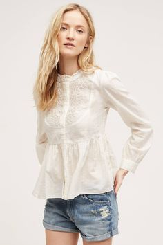 Embroidered Mockneck Buttondown by Floreat from Anthropologie
