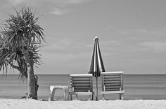 Bliss is a day spent at the beach!  A black and white photograph of two empty beach chairs with umbrella and palm tree looking out over the ocean and sitting on pristine white sand.