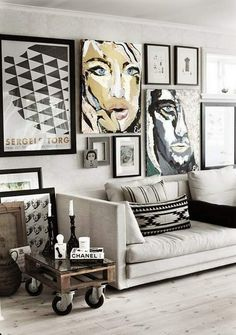 Black and white deco living room. HGTV.