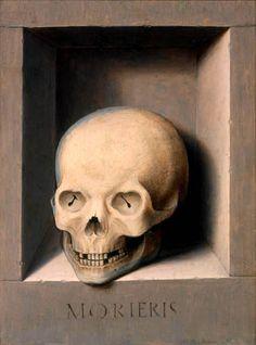 Hans Memling  (1436 - 1494) Skull. Oil on panel.