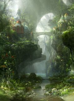 Concept art environment design illustration of a jungle forest world with medieval buildings brook, stream and bridge Lush vegetation and an adventurously perilous placement of structures iconize the fantasy landscape genre. Environment Concept, Environment Design, Green Environment, Fantasy Places, Fantasy World, Fantasy Forest, Fantasy City, Fantasy Kunst, Fantasy Setting