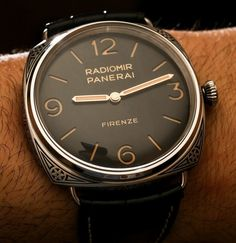 "Panerai Radiomir Firenze 3 Days Acciaio PAM604 Limited Edition Engraved Watch Hands-On - by Ariel Adams - see it hands-on, read more on aBlogtoWatch.com ""For 2015, Panerai has a few interesting new watches, but my favorite is the Panerai Radiomir Firenze 3 Days Acciaio 47mm aka PAM00604 (PAM604). This is really a watch for collectors, and Panerai has made especially sure that the PAM604 very much fits into Panerai lore, being available for sale exclusively in the brand's flagship boutique…"