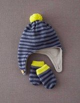 Patterned Hat & Mittens Set (Blue Whale Stripe)