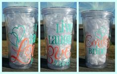 Live, Laugh, Love Bridal tumbler with date, names, and titles - 16oz personalized acrylic