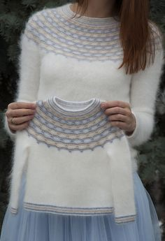 """Ravelry: Winter Angel pattern by Tanya Mulokas . I know it is knitted, but have to crochet something white and fluffy ;""""If angels wore pullovers, I know who would knit them for them!"""" - these words said by my friend gave the name to this design. Baby Knitting Patterns, Knitting For Kids, Knitting Designs, Free Knitting, Girls Sweaters, Baby Sweaters, Baby Pullover, Fair Isle Knitting, Cardigan Pattern"""