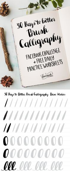 30 Days to Better Brush Calligraphy. A new video and free practice worksheet every day for 30 days! Lettering Brush, Creative Lettering, Brush Lettering Worksheet, Waterbrush Lettering, Watercolor Lettering, Calligraphy Letters, Typography Letters, Calligraphy Doodles, Learn Calligraphy