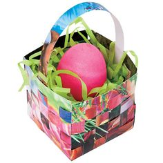 Magazine Mini Basket - A tisket, a tasket: this colorful basket is created from strips of recycled magazines.