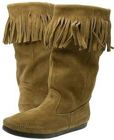 Minnetonka Moccasin Boots Suede Leather Fringe Women's Moccasins Boho Chic Shoes Picture