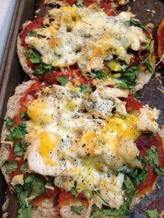 Chicken Spinach Pita Pizzas - recipe from Flat Abs Diet Cookbook